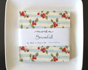 "Snowfall by Minick & Simpson for Moda Charm Pack 5"" Squares"