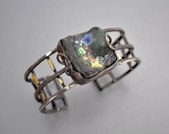 Strappy Cuff with Ancient Roman Glass