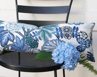 Schumacher Pillow Cover - Lumbar - 10X25 -  Pillow Covers - Chiang Mia - China Blue - ready to ship