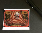 Creepy Clown Carnival Ouija Board Stickers Dark Circus Horror Movie Collectible Halloween Orange Black Yellow Freak Show