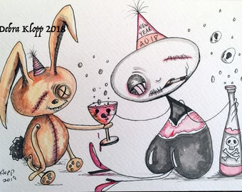 Klopp Original Lowbrow Art with Orange Bunny and Skull Bubbly Champagne Outsider Drawing Dark Humor Illustration for New Year 2018