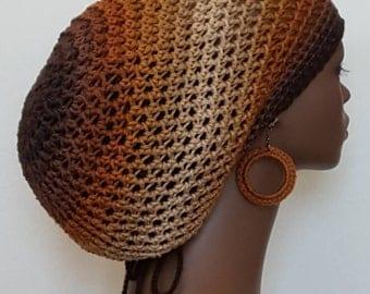 Earth Tones Crochet Large Tam Hat with Drawstring and Earrings Dreadlocks Rasta Tam by Razonda Lee Razondalee