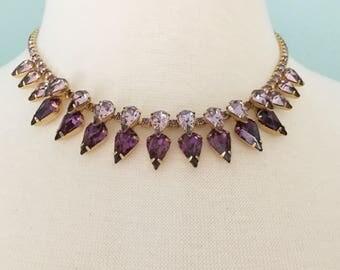 Mid-Century Rhinestone Necklace, Vintage Jewelry, Rhinestone Choker, Purple Necklace, Pear Shaped Light & Dark Stones, Special Occasion