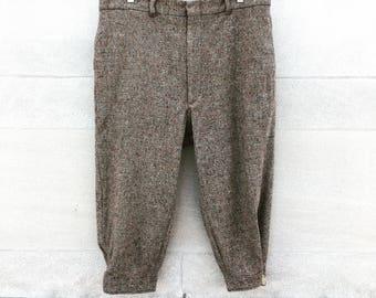 Vintage 60s Oatmeal Brown Knickers Knee Length Pants  size 38 mens   Medium large