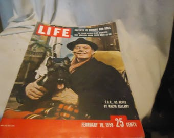 Vintage February 10, 1958 Life Magazine Ralph Bellamy as F.D.R., collectable