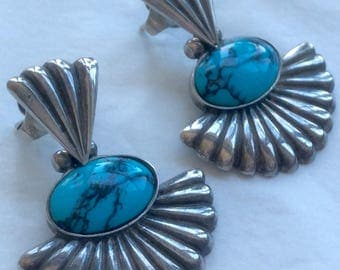 Vintage Navajo Sterling Silver with Turquoise Cabochon Pierced Earrings Hallmarked