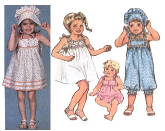 Girls Bonnet Pattern, Girls Dress Pattern, Girls Romper Pattern, Girls Hat Pattern, 80's Sewing Pattern, Vintage Pattern, Simplicity 5954