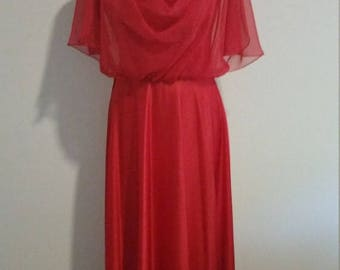 Clear Out Sale 1970s Maxi Dress Gown, Red Polyester with Sheer Overlay at Bodice. 70s Prom, Xmas Dress, Holiday Gown,Size M/L  #59833