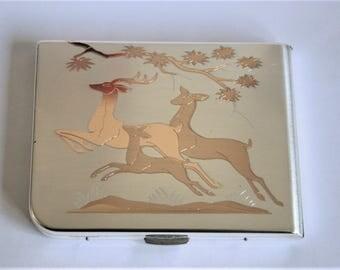 Vintage cigarette case. Ladies cigarette case. Elgin American cigarette case. Leaping gazelles.  Metal cigarette case.  Business card case