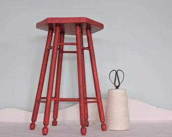 Vintage Red 6 Legged Stool - Plant Stand