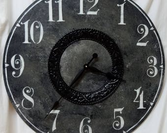 30 Inch LARGE WALL CLOCK in Black with Black Embossed Metal,  Big Clock
