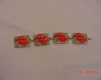 Vintage Orange Thermoset Bracelet  18 - 150