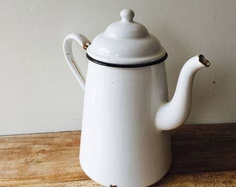 Vintage white enamel coffee or tea pot with Black Trim