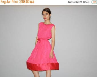 On SALE 35% Off - Vintage 1950s Fuchsia Pink  Cupcake Prom  Party Cocktail  Dress  - Vintage Prom Dress - Vintage 50s Pink Dresses  - WD0864