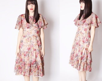 FLASH SALE - 60s Floral Ruffle Garden Rose Dress / 1960s Dresses / 60s Rose Dress / 1960s Rose Dresses / Ruffle Dress / 2273