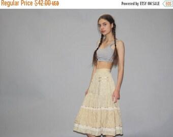 FLASH SALE - Gunne Sax Vintage Pastel Yellow 1970s Skirt - 70s Floral Skirt - 1970s Prairie Skirt  - Vintage Gunne Sax - WB0322