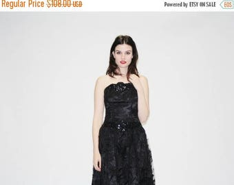 FLASH SALE - 1980s Black Lace Strapless Prom Dress - Vintage 80s Sequin Prom Dress - The Lovespell Dress  - 1038
