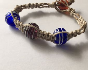 Hemp Bracelet with Red and Blue Glass Beads