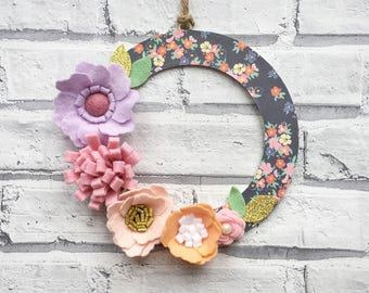 Floral Wreath, Door Wall Wreath Art, felt flowers