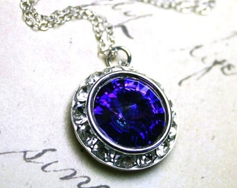 ON SALE Purple Halo Pendant - Swarovski Crystal with a Rhinestone Bezel Necklace - Purple Heliotrope Pendant - Sterling Silver