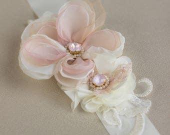 Bridal Wedding belt, Blush Wedding belt, Flower wedding belt, Floral Bridal Belt, sashes belts, Blush bridal belt, Wedding dress belt