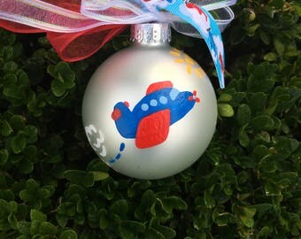 Personalized Airplane Christmas Ornament - Hand Painted Bauble, Airplane Baby Room Decor, Aviation Gift, Baby's First Christmas Gift for boy
