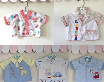 20% off SALE vintage lot of 5 baby shirt - CIRCUS in TOWN button down shirt / 0-6M