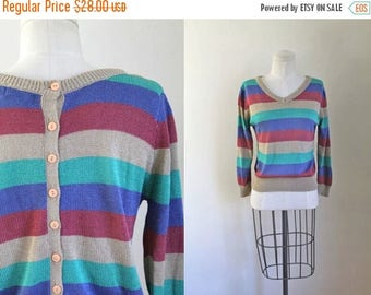 AWAY SALE 20% off vintage striped sweater - FRONT & Back button back  pullover / S