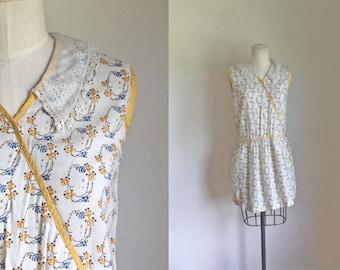 vintage 1920s tunic - TWIG & ROSE floral cotton mini dress / xxs-xs