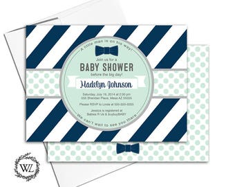 Printable boy baby shower invitations, boy baby shower invites, bow tie baby shower invitation, little man baby shower navy mint - WLP00728