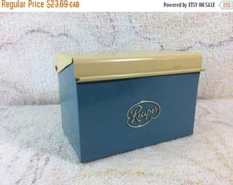 20% SALE 1950s Tin Recipe Box with Index Cards for Organizing Blue and Creme American Retro