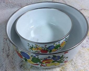 SUMMER SALE Pair of Vintage Enamel Pots Kitchen Kitsch Fruits and Veggies