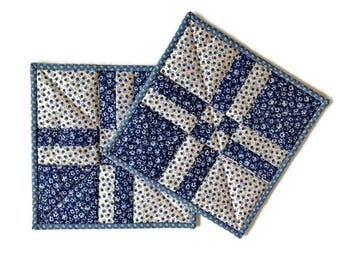 """Handmade Insulated Quilted Potholders / Quilted Hot Pads / Quilted Trivets / Quilted Mug Rugs / Quilted Candle Mats – 9"""" x 9"""" - Set of 2"""