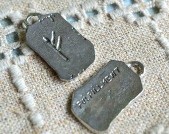 Fehu Rune Fulfillment Wealth Luck Sign Pewter Ancient Pendant Runes