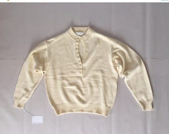 25% OFF SALE... sand yellow cotton sweater | button front neck