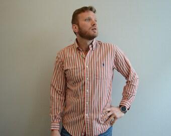 Vintage Ralph Lauren Button Down Shirt Orange Stripe Shirt