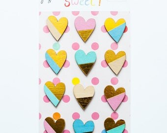 "Gold-Accent Wood Veneer Hearts - July 2017 ""Sweet!"" collection"