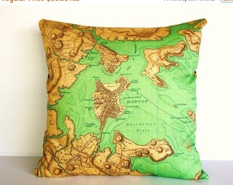 SALE SALE SALE Cushion cover, map pillow, throw cushion Boston organic cotton, 16 x16 inch, decorative throw pillow