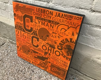 ORANGE Cleveland Collage Painting No. 01 on Canvas 17 x 17