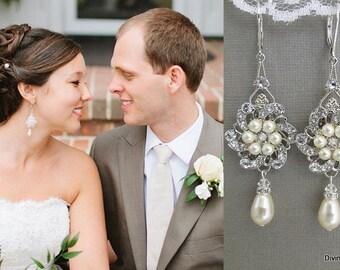bridal earrings, Pearl earrings, Swarovski Crystal Earrings, Chandeliers Earrings, Statement bridal Earrings, Wedding pearl Earrings, AMELIA