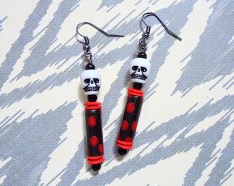 Black, White and Red Spotted Skull Earrings (3730)