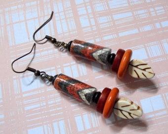 Rustic Black, Brown, Burnt Orange and Ivory Leaf Earrings (3786)