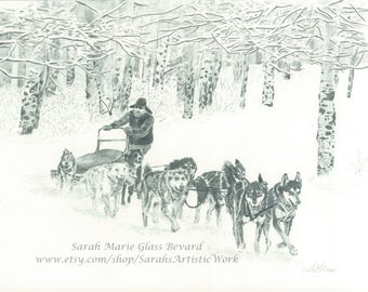 Print of 'Around the Corner' Sled Dog Team from original graphite drawing by Sarah Marie Glass