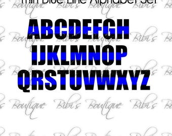 Thin Blue Line Alphabet Set * Police * Law Enforcement * Back the Blue *  Blue Lives Matter * SVG * Cricut, Silhouette * Exclusive!