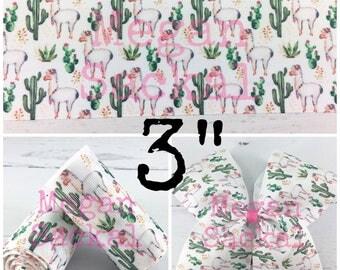 """3yd- 3"""" Ribbon, Cheer Bow Ribbon, Cactus and Llama Ribbon"""