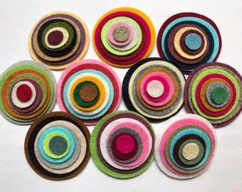 Wool Felt Circles Die Cut 70 total -  Sizes 2in - .5in Random Colored 4124 - Hair Clip Supply - Circle Die Cut - Merino Felt - DIY Felt