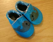 Baby shoes, blue whale booties size 4/ 6-12 months, leather soft soled shoes, moccasins