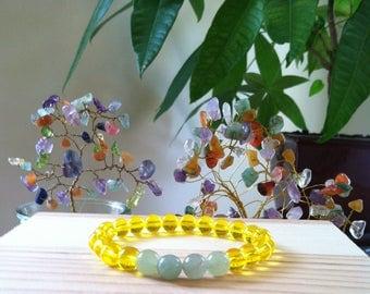 "Handmade Citrine Green Aventurine Gemstone Bracelet, Yellow Citrine Gemstone Stretch Bracelet, Money Prosperity 7.25"" Stretch Bracelet"