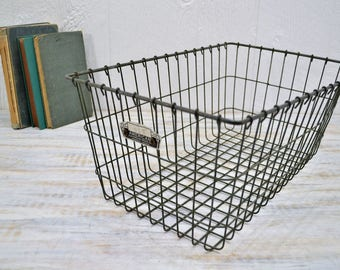 Large Vintage Gym Basket - wire locker room bin