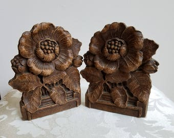 Vintage Flower Bookends Set Pair Poppies or Magnolias Possibly Made By Burwood, Botanicals Gardener Naturalist